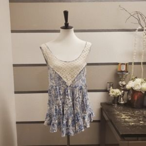 Free People Blue Floral/Lace Blouse